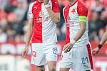 SK Slavia Praha – FC Slovan Liberec. Tomáš Souček (vlevo) a Milan Škoda.