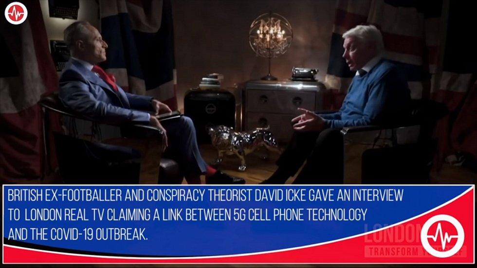 David Icke v rozhovoru s London Real TV, kde mluvil o údajném spojení koronaviru a 5G
