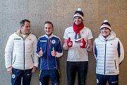 Představení kolekce oblečení pro Zimní olympijské hry 2018 v Jižní Korei proběhlo 20. listopadu v Praze. Zleva Tomáš Kraus, Tomáš Portyk, Ondřej Synek a Martin Doktor.