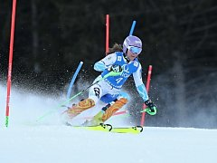 Šárka Strachová při slalomu v rakouském Semmeringu.