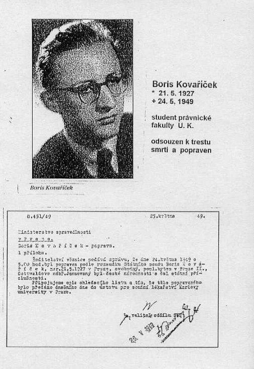 Studentský průkaz Borise Kovaříčka