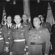 Francisco Franco v roce 1940 v Madridu během setkání s Heinrichem Himmlerem