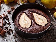 čokoládový koláč s hruškami