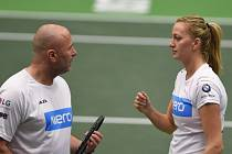 Petra Kvitová se svým trenérem Davidem Kotyzou.