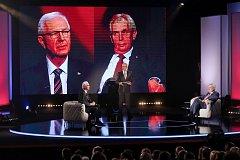 Prezidentští kandidáti Miloš Zeman a Jiří Drahoš se setkali 23. ledna v Praze k první televizní debatě před druhým kolem prezidentských voleb.