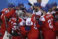 Čeští hokejisté se radují z postupu do semifinále olympijských her v Pchjongčcgangu.