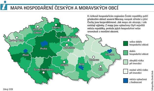 Mapa hospodaření českých a moravských obcí.