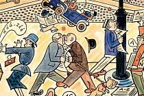 Jak se dělají noviny. Jeden z velkoformátových obrázků seriálu z roku 1928 propagujícího někdejší deník A-Zet.