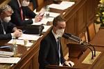 Předseda Pirátů Ivan Bartoš na schůzi Sněmovny v Praze 11. února 2021