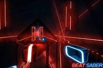 Screenshot z YouTube ze hry Beat Saber.