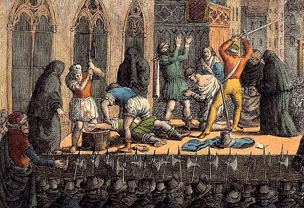 Exekuce na Staroměstském náměstí, snímky z natáčení a historické kresby věnované této události.