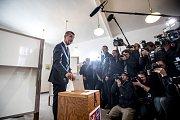 Andrej Babiš volil v parlamentnách volbách 20. října v Průhonicích.