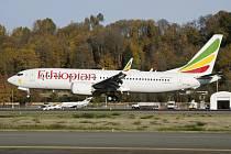 Boeing 737 MAX 8 Ethiopian Airlines - Letoun Boeing 737 MAX 8 společnosti Ethiopian Airlines, který 10. března spadl na cestě z etiopské metropole Adis Abeby do keňského hlavního města Nairobi. Zahynulo všech 157 lidí na palubě