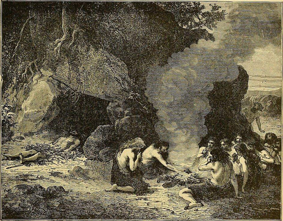 Neandertálci v jeskyni podle představ umělců z konce 19. století