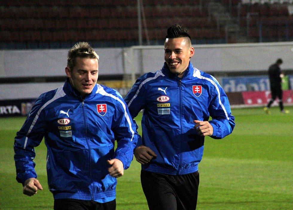 Marek Hamšík (vpravo) na srazu slovenské reprezentace