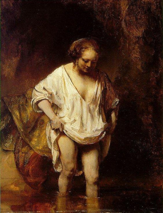 Žena koupající se v páře, Rembrandt, 1655, Národní galerie Londýn