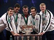 Andy Murray z Británie ve finále Davis Cupu proti Belgii.