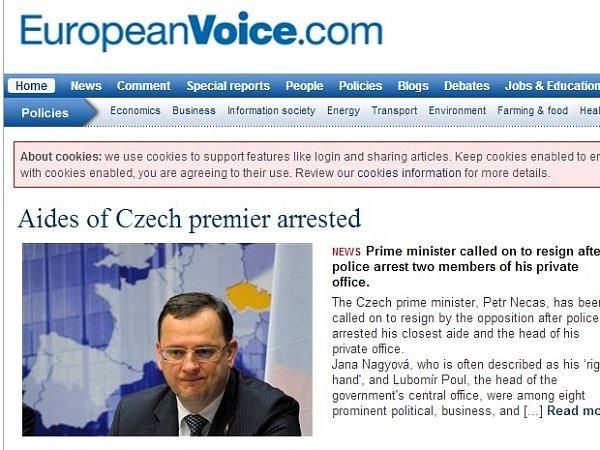 Článek bruselského serveru European voice