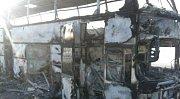 Shořelý autobus v Kazachstánu
