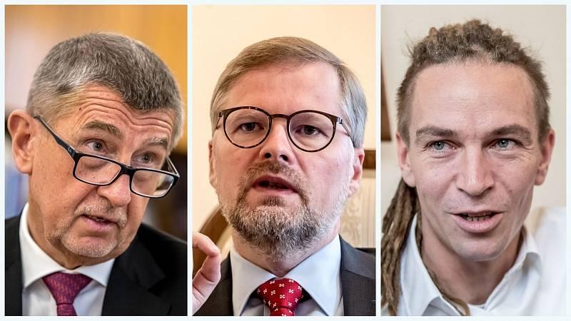 Zleva: Andrej Babiš (ANO), Petr Fiala (ODS), Ivan Bartoš (Piráti)