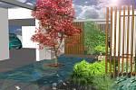 Vizualizace zahrady s vodním prvkem