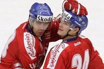 Jiří Hudler (vpravo) lídr reprezentace na Českých hokejových hrách.