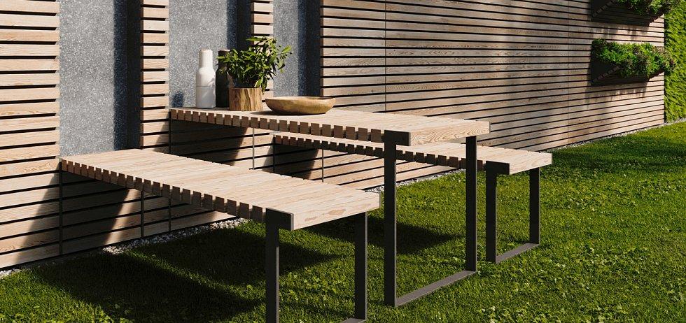 Chytrý plot s integrovanou funkcí výklopného zahradního posezení. Jednoduše vyklopíte a zaklopíte stůl a dvě lavice.