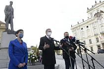 Předsedkyně TOP 09 Markéta Pekarová Adamová (vlevo), šéf ODS Petr Fiala (uprostřed) a předseda KDU-ČSL Marian Jurečka