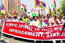I v Dillí provázely přítomnost olympijské pochodně protestní pochody proti porušování lidských práv v Číně.