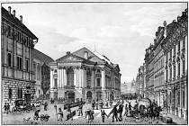 Praha, Rytířská ulice, Stavovské divadlo. Původní podoba exteriéru z r. 1835.