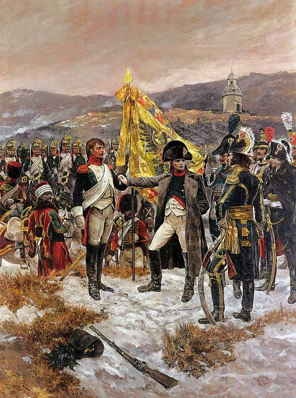 Richard Caton Woodville: Napoleon u břehu Litavy. V zadní části plátna je zobrazena kaple sv. Antonína Paduánského stojící nad Újezdem