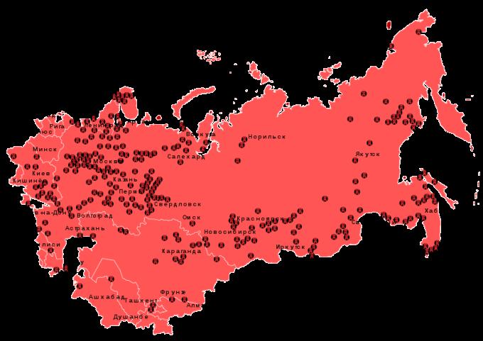 Mapa gulagů na území bývalého SSSR