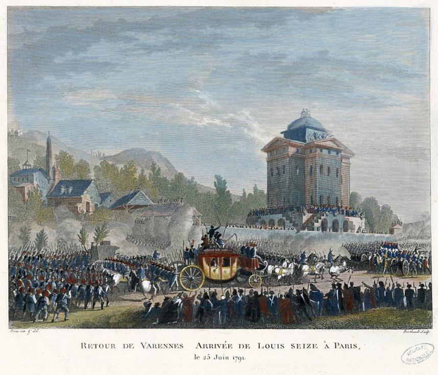 Návrat do Paříže. Když se po zadržení ve Varennes královský koč vracel do hlavního města, ulice lemovaly davy rozzuřených Pařížanů. Král u nich ztratil zbytky úcty. Autorem obrazu je Jean-Louis Prieur. Foto: Wikimedia Commons, volné dílo