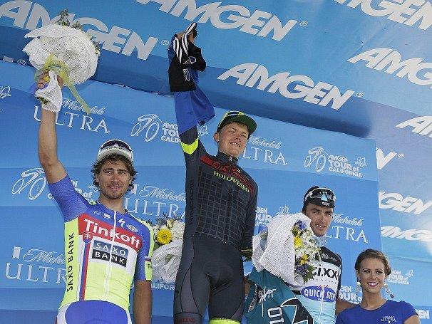 Tři nejlepší ze třetí etapy Kolem Kalifornie (Peter Sagan vlevo)