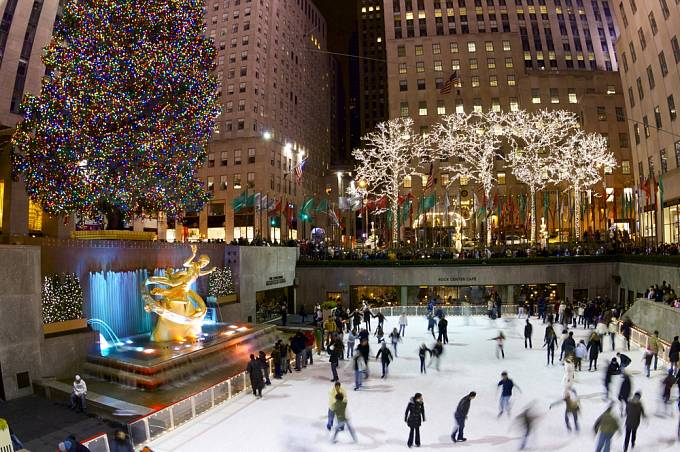 bruslení v New Yorku během vánočních prázdnin