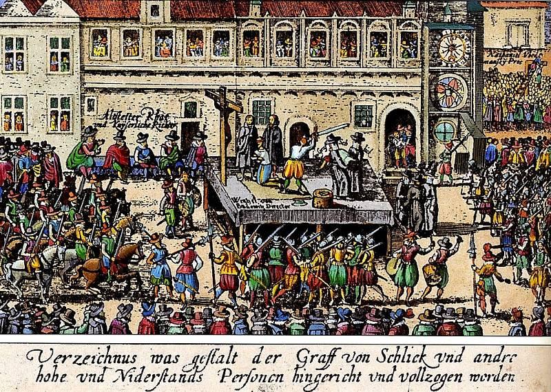 Dobová ilustrace popravy 27 českých pánů na Staroměstském náměstí