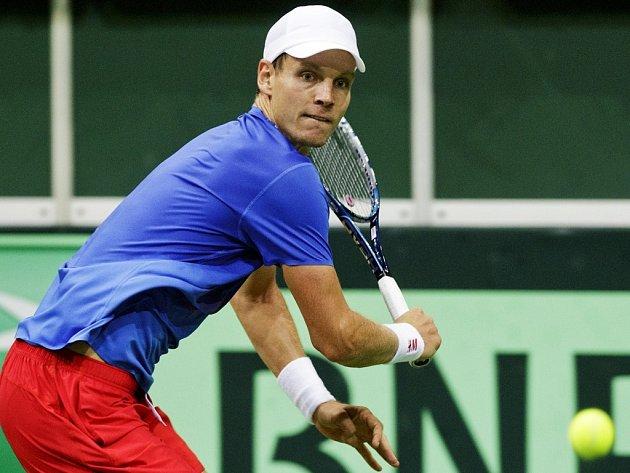 Tomáš Berdych v semifinále Davis Cupu proti Argentině.