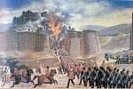 Malba zachycující útok britských sil na afghánskou pevnost Ghazni.