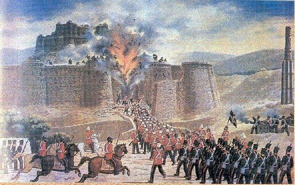 Znázornění útoku britských sil na pevnost Ghazni během první afghánské války,