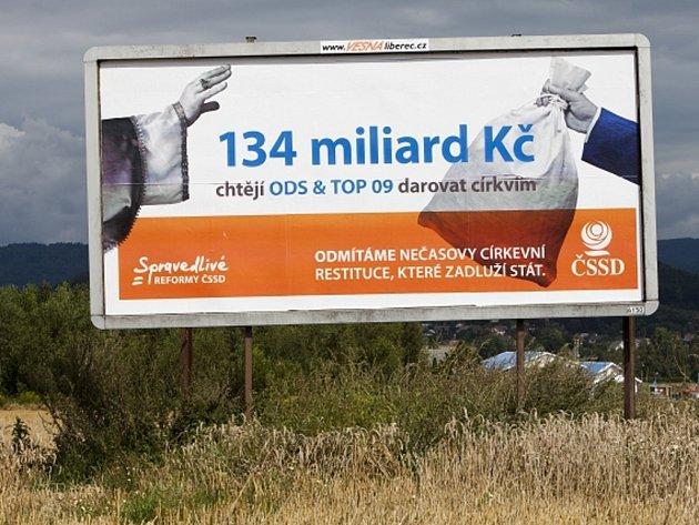 Předvolební billboard ČSSD.