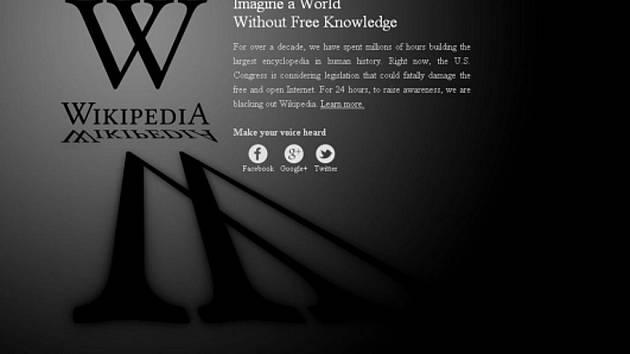 Anglická verze internetové encyklopedie Wikipedia vypnula 18. ledna své služby na protest proti chystaným americkým zákonům proti internetovému pirátství.