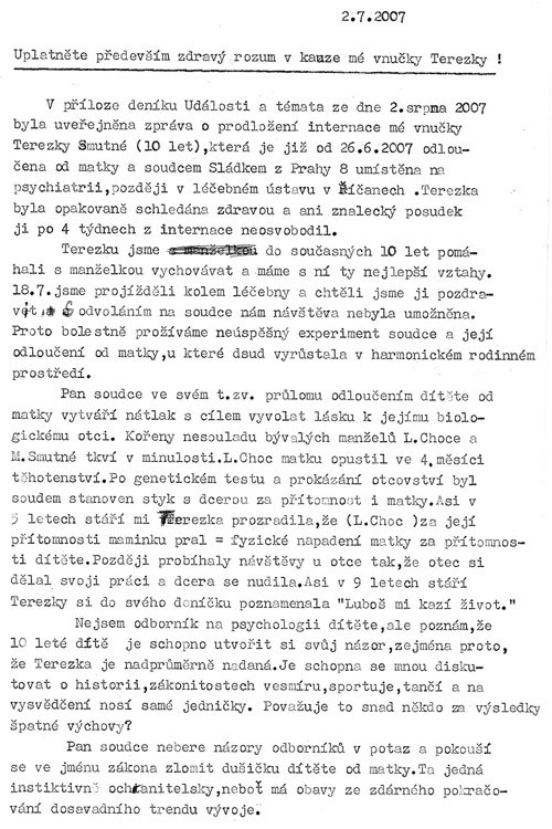 Dopis Josefa Smutného