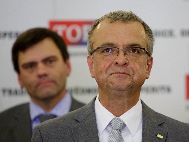 TOP 09 představila 5. září v Praze novinářům lídry kandidátek do voleb. Miroslav Kalousek.