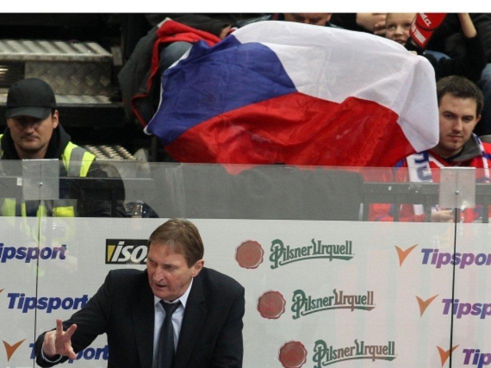 Trenér Alois Hadamczik uděluje pokyny na české střídačce v zápase s Finskem.