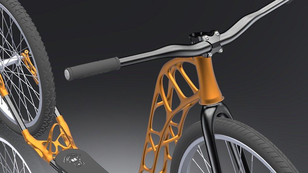 Unikátní koloběžka, kterou tým z Vysoké školy báňské – Technické univerzity Ostrava vytiskl na 3D tiskárně.