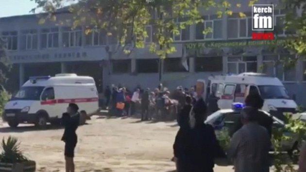 Výbuch ve škole v Kerči na Krymu.