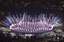 Ohňostroj při slavnostním zahájení letních olympijských her