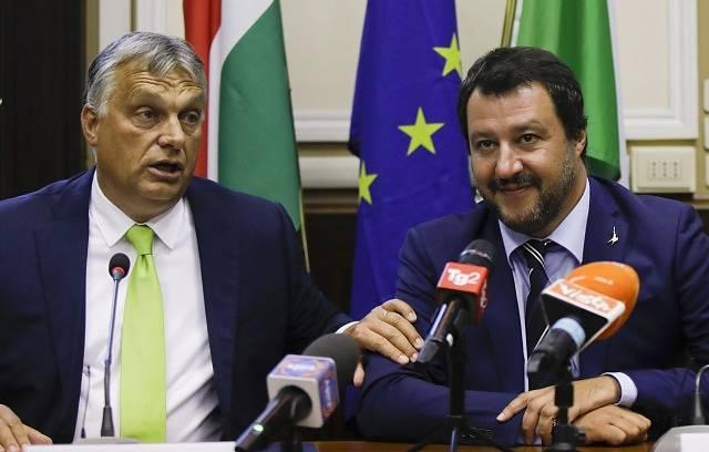 Maďarský premiér Viktor Orbán a Matteo Salvini, italský ministr vnitra a vicepremiér.