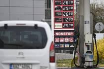 Ceny pohonných hmot u čerpací stanice. Ilustrační foto