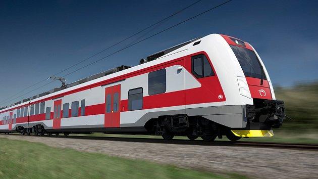 Vizualizace elektrické jednotky RegioPanter, která bude jezdit na Slovensku